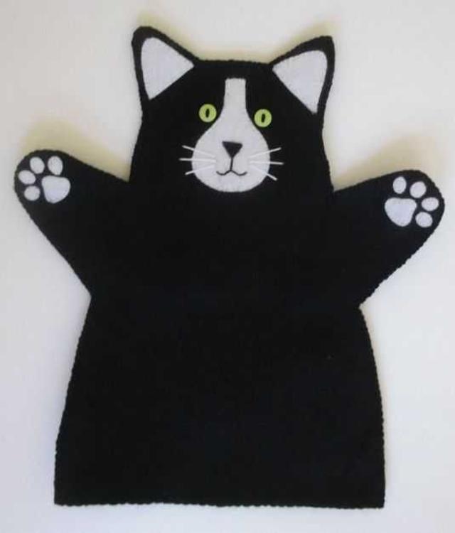 Fantoche de gato de feltro