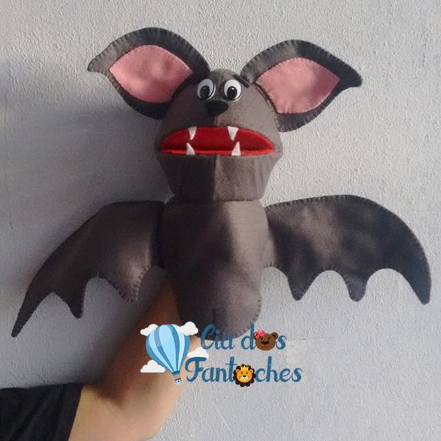 Fantoche de morcego de feltro