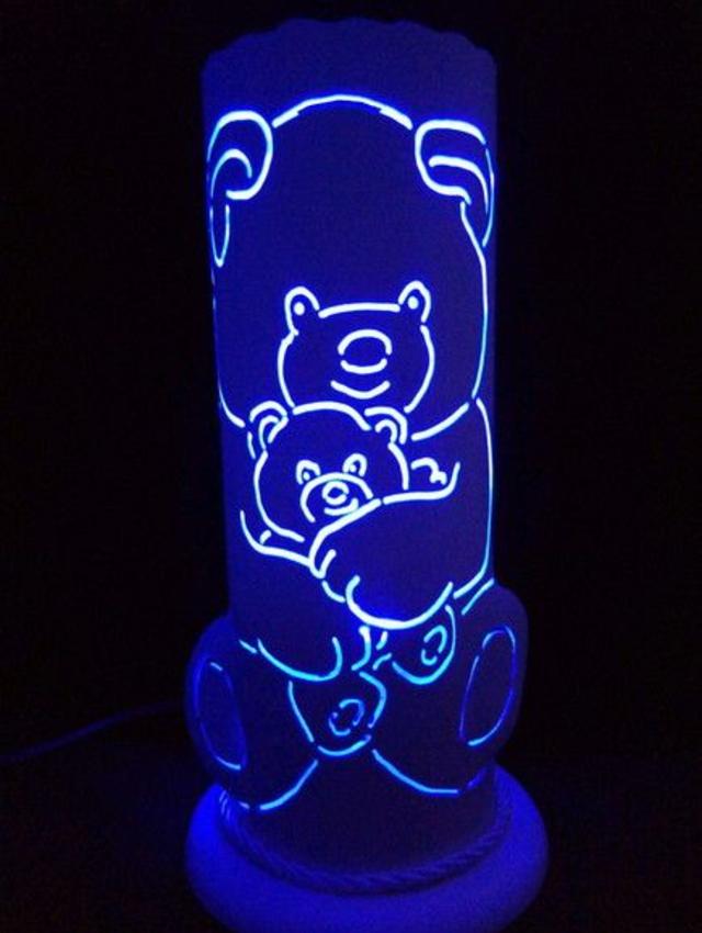 Luminária de PVC  com desenho de ursinhos