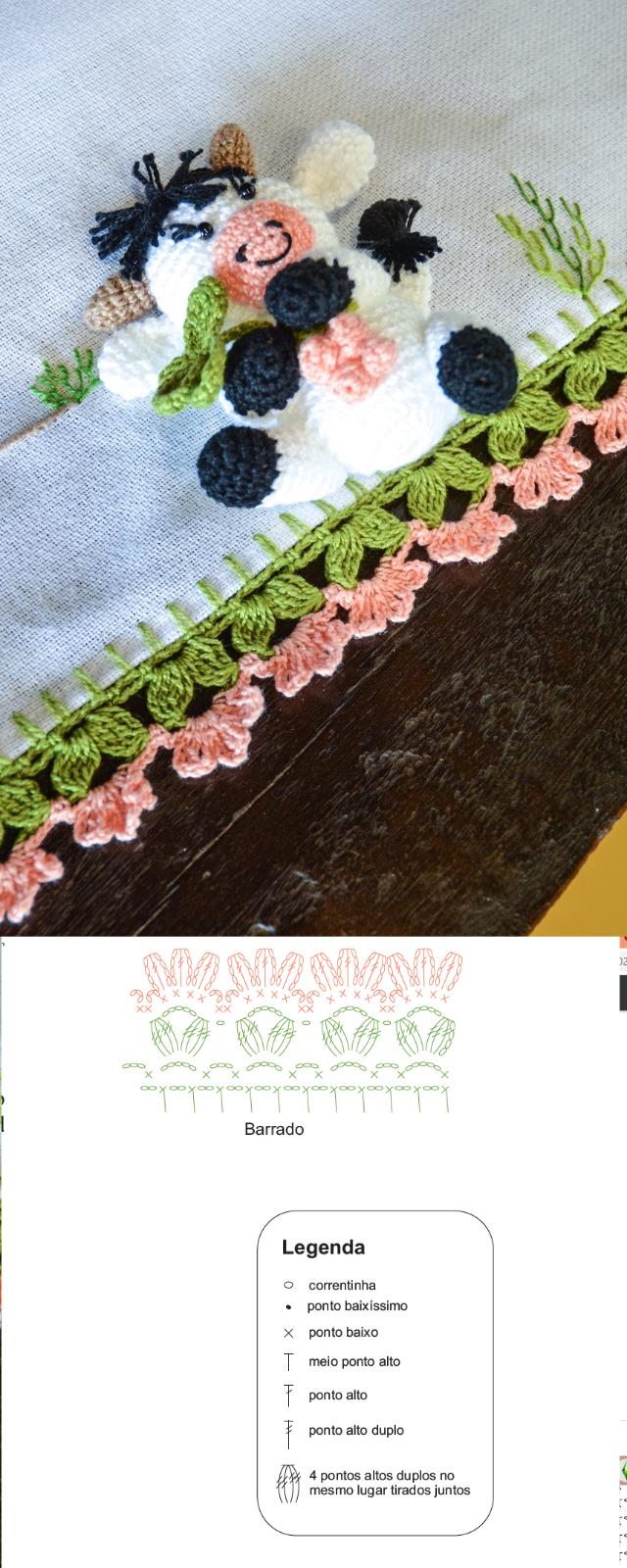 Gráfico de bico de crochê em pano de prato de flor