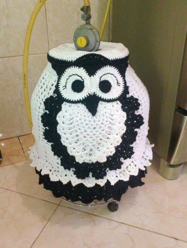 Capa de botijão de coruja de crochê