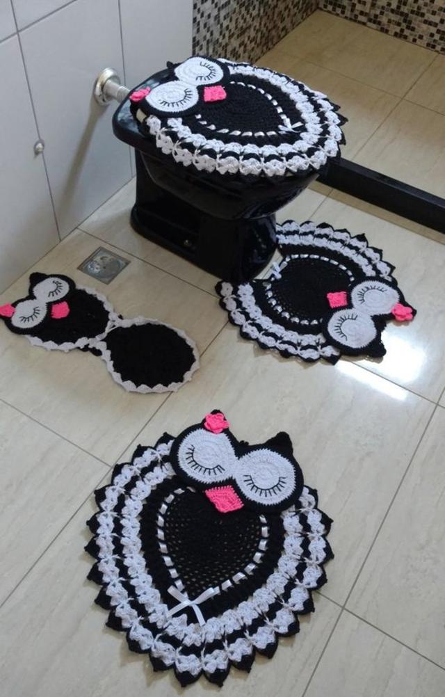 Jogo de banheiro de coruja de crochê
