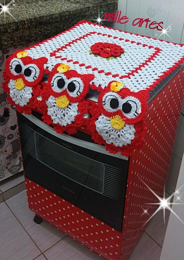 Capa de fogão de coruja de crochê