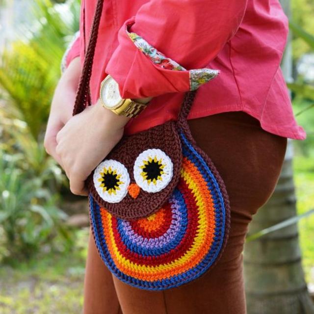 Bolsa de coruja de crochê