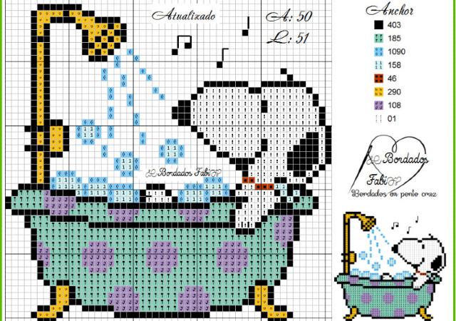 Gráfico do Snoopy em ponto cruz
