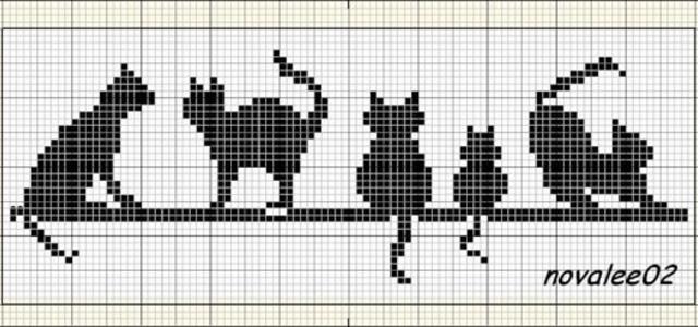 Gráficos de gatos em ponto cruz para tolhas