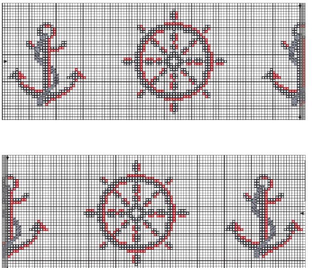 Gráficos em ponto cruz para tolhas