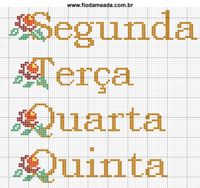 Semaninha em ponto cruz com flores