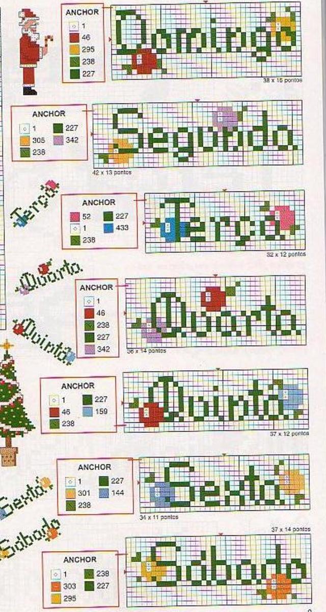 Semaninha em ponto cruz de Natal