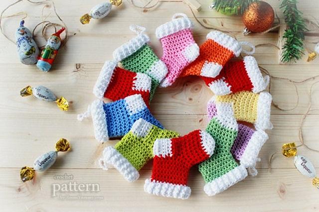 Meias de crochê de Natal