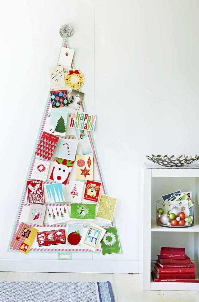 Árvore de Natal de parede com cartões