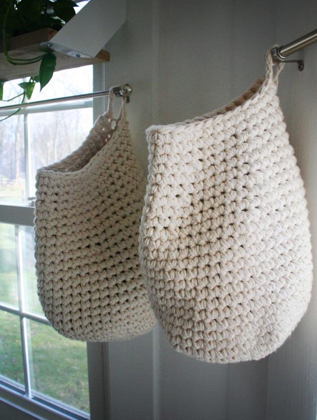 Puxa sacos de crochê básico