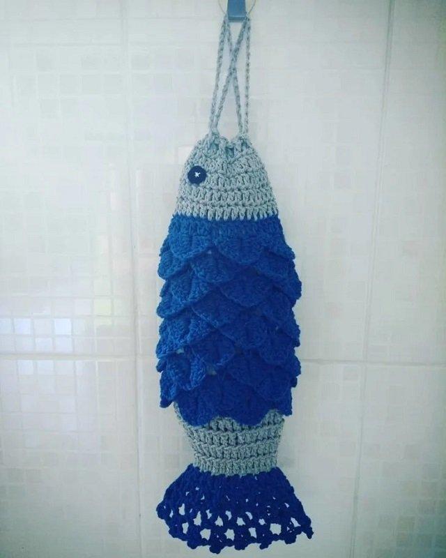 Puxa saco de crochê peixe