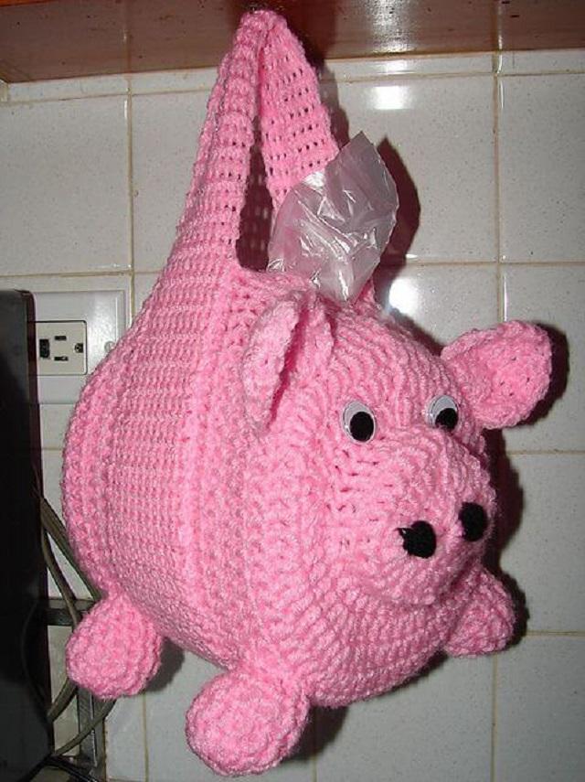 Puxa saco de crochê porquinho