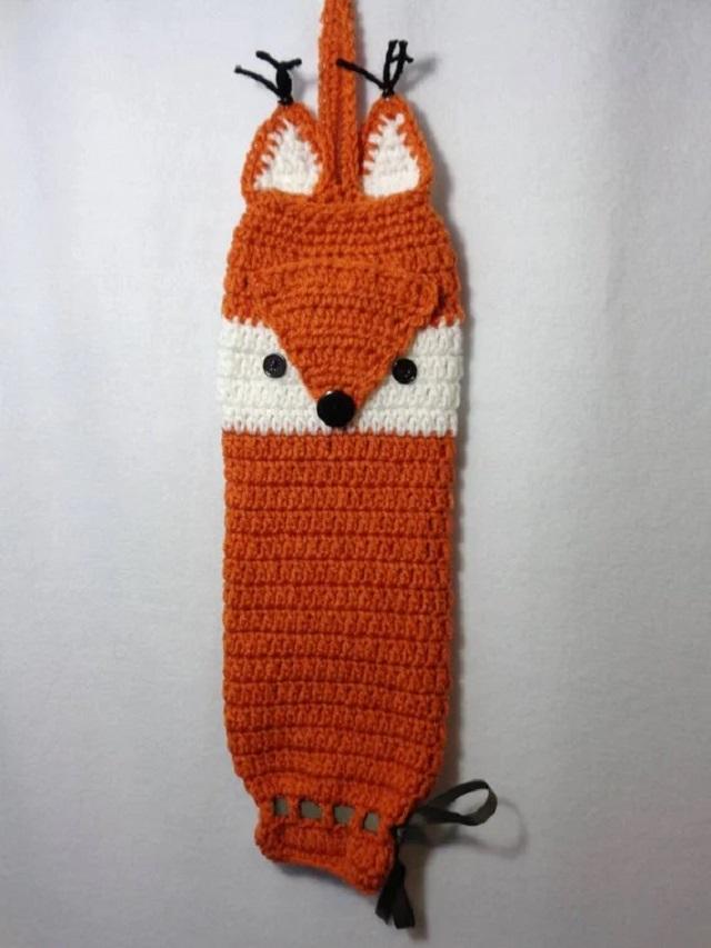 Puxa saco de crochê raposa
