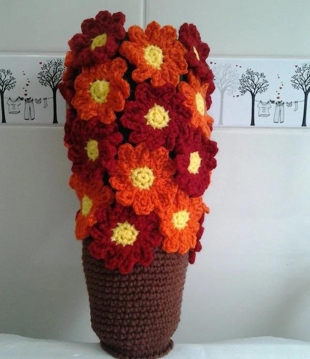 Puxa saco de crochê flores