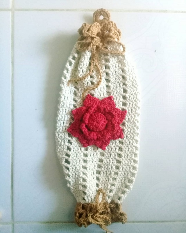 Puxa saco de crochê flor