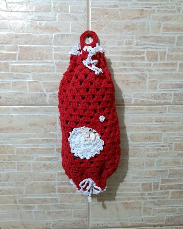Puxa saco de crochê natal