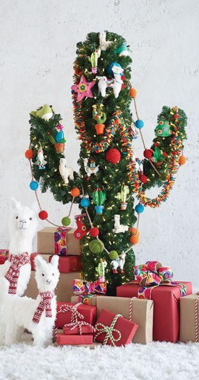 árvore de natal artesanal cacto