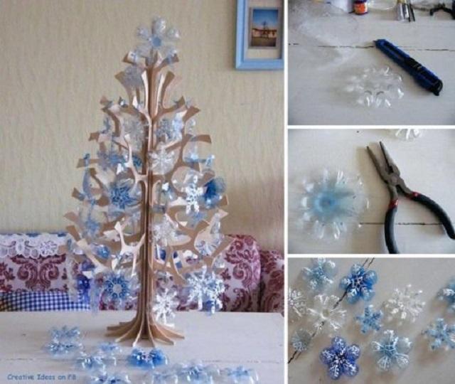 Árvore de Natal com enfeites de garrafa pet