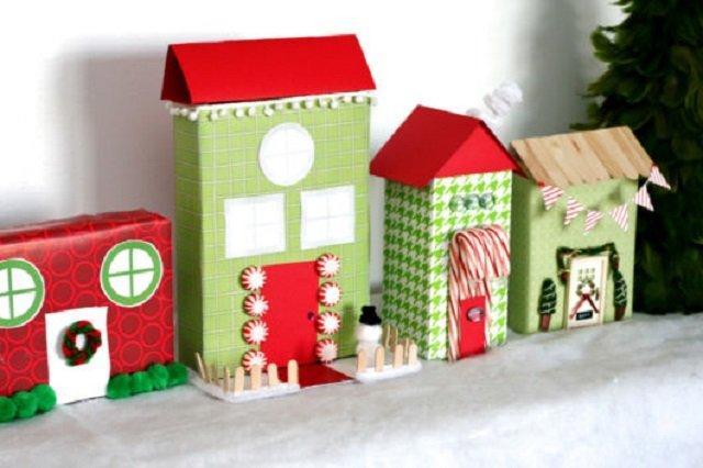 Decoração de Natal feita com caixa de leite