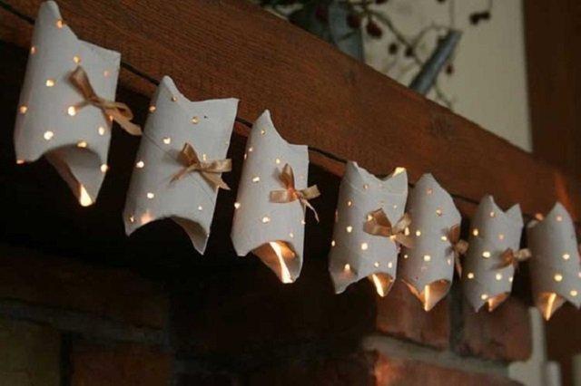 Decoração de Natal com rolo de papel higiênico