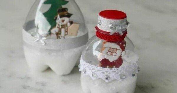 Globo de neve de garrafa pet