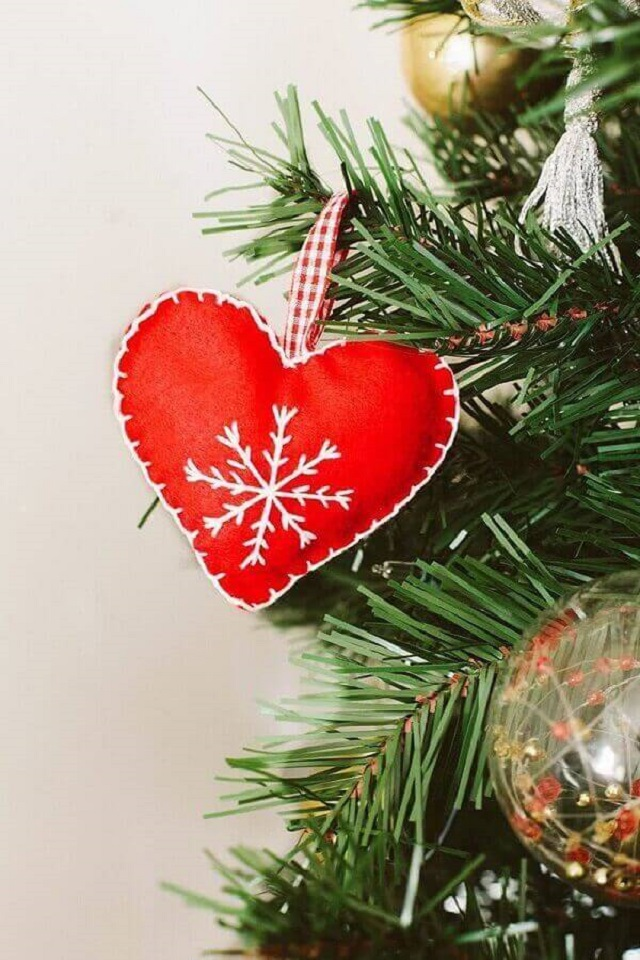 Coração de Natal de feltro