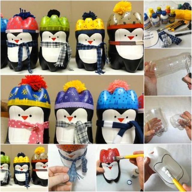 Pinguim de Natal de garrafa pet