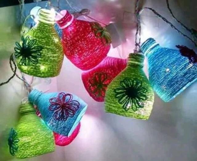 Luminária de Natal de garrafa pet