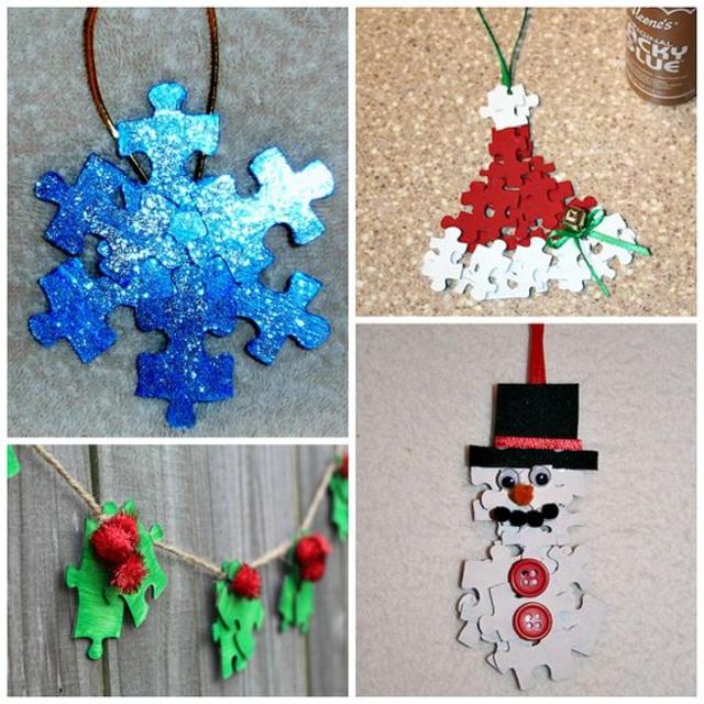 Enfeites de Natal feitos com quebra-cabeças