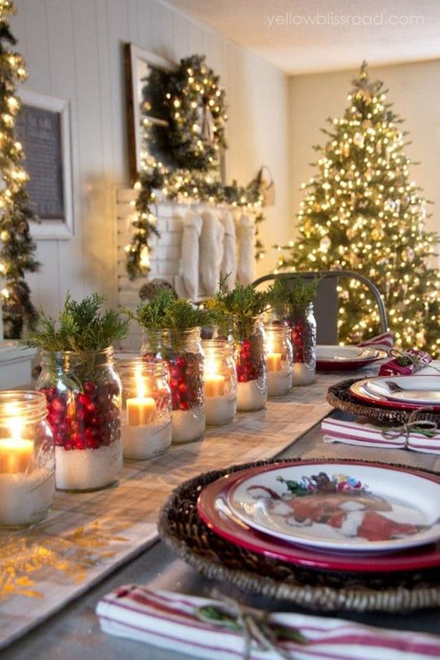 Enfeite de mesa de Natal com velas