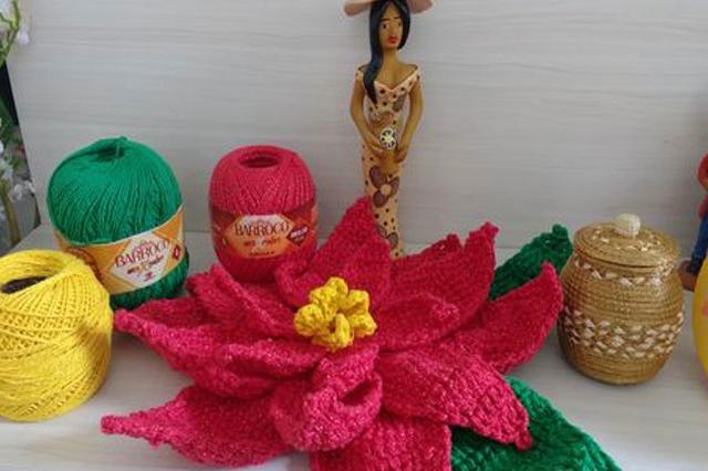 Flor de crochê para o Natal