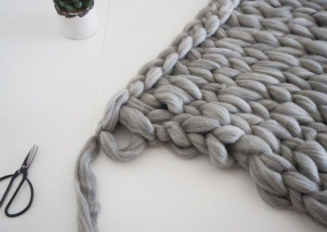 Passo a passo de colcha de tricô gigante