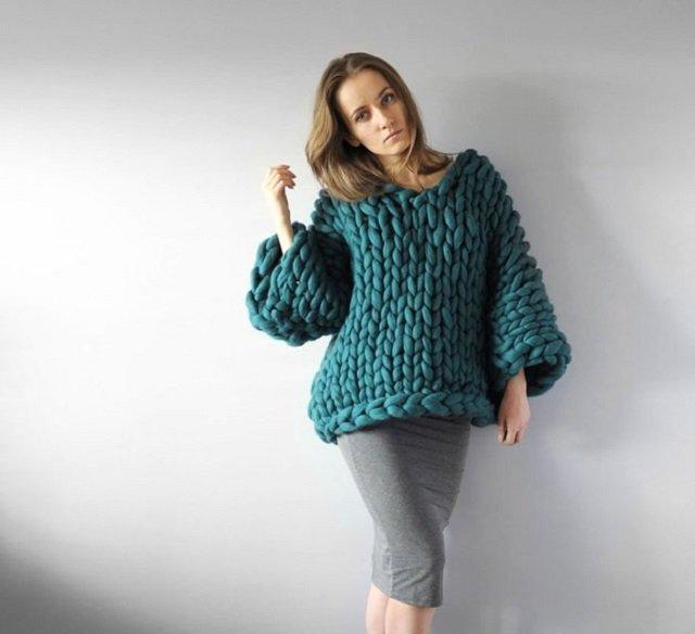 Blusa de frio de tricô gigante