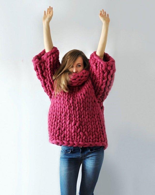 Blusa de tricô gigante