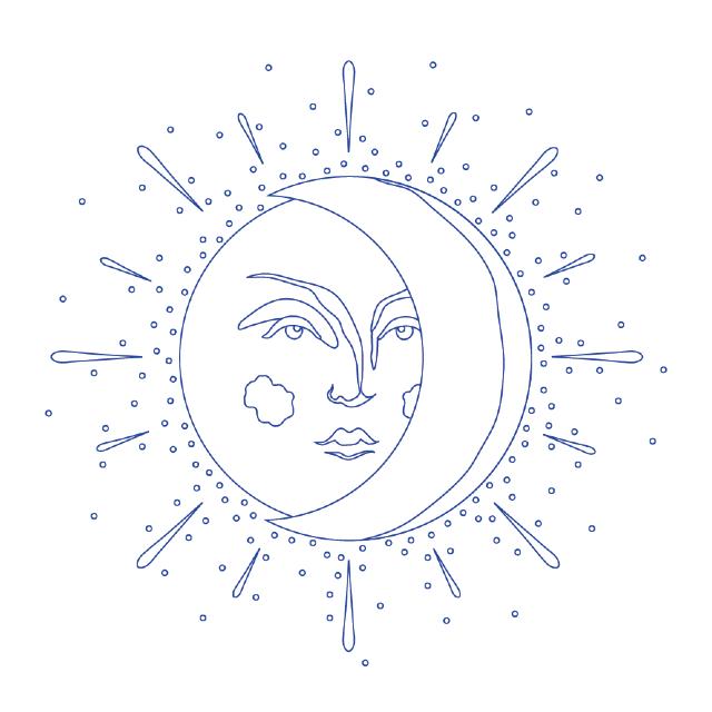 desenho para bordado sol e lua