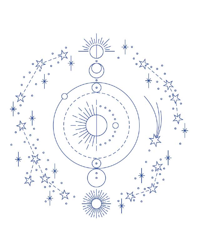 desenho para bordado sistema solar