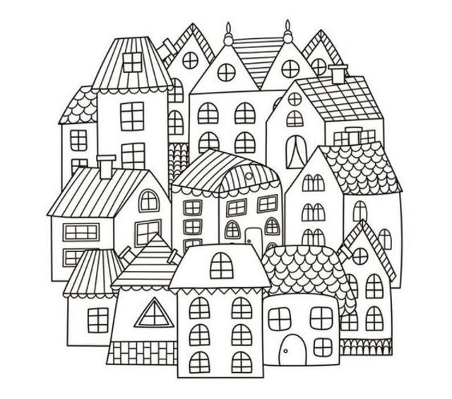 desenho para bordado casas