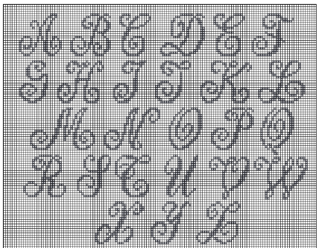 letras em ponto cruz molde