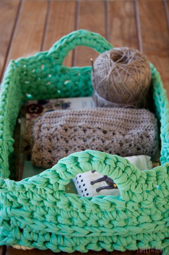 pontos de crochê fio de malha cesta
