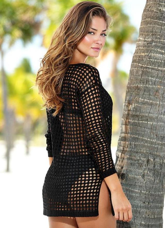 Modelo túnica de saída de praia em crochê fácil e rápida