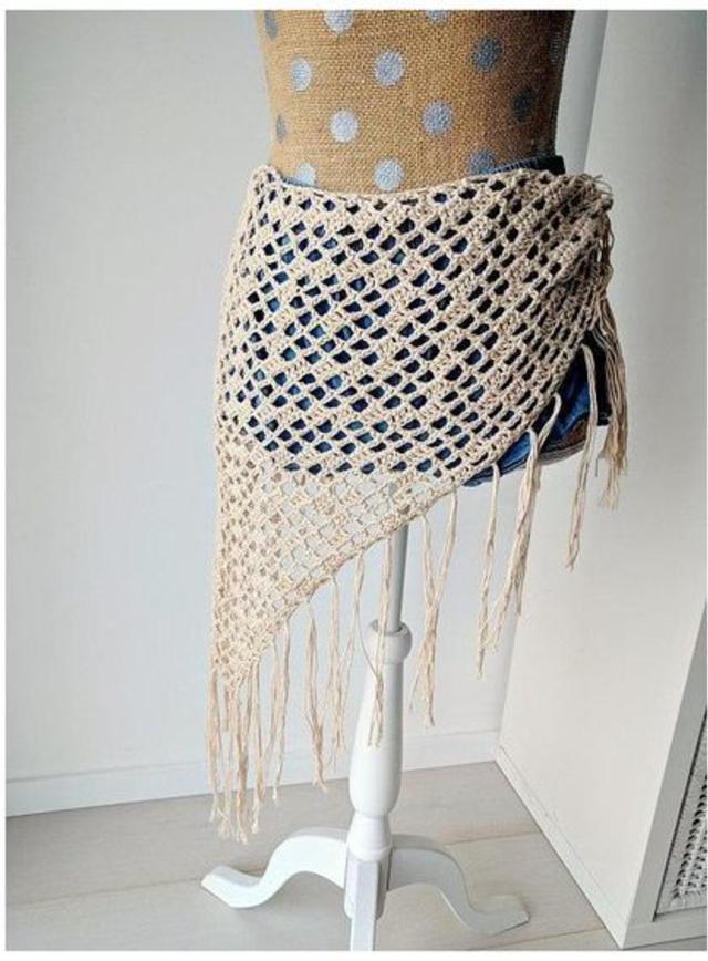 Modelo lenço de saída de praia em crochê fácil e rápida