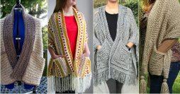 Xale de Crochê com Bolso Para Inverno: Passo a Passos e Inspirações Lindas