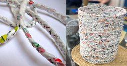 Artesanato com Reciclado: Como Fazer um Cesto usando Sacolas Plásticas